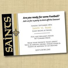 New Orleans Saints Football Party Invitation - DIY Ready To Print (more teams available). $13.00, via Etsy.
