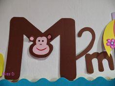 Litera M de la maimuta Miss D, Handwriting Practice, Letter A Crafts, Montessori, Activities For Kids, Alphabet, Arts And Crafts, Lettering, School