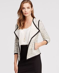 Piped Knit Jacket | Ann Taylor