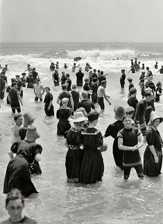 The Jersey Shore circa 1910. Bathers at Atlantic City. Look at those sexy swimsuits!