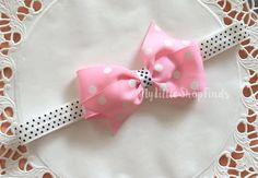 Pink Polka Ribbon Baby Headband by MylittleshopFinds on Etsy
