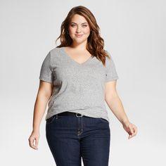 Women s Plus Size Short Sleeve T-Shirt - Ava   Viv - Gray 2X 2d335c99d