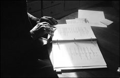 "Inge Morath. The hands of Arthur Miller as he makes minor changes to the script of his latest work ""Broken Glass"""