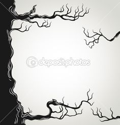 Black tree branches silhouette