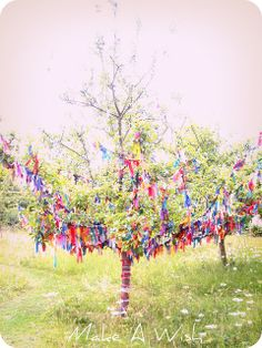 Wishing Tree @ Nunnington Hall I wish tree! Each volume represents a desire - love this idea Beltane, Dream Garden, Garden Art, Garden Ideas, Wiccan, Pagan, Prayer Stations, Prayer Garden, Prayer Flags