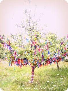 Wishing tree! Each ribbon represents a wish - love this idea!!!! <3