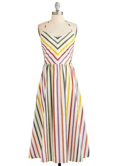 Some Flair Over the Rainbow Dress. When youre ready to bring your bright and bubbly spirit with you on your errands, slip on this rainbow striped dress from BB Dakota!  #modcloth