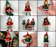 Elf bendy dolls in two sizes- 3 inch and 6 inch.  Bendable posable Christmas elves handmade by www.PNTdolls.com