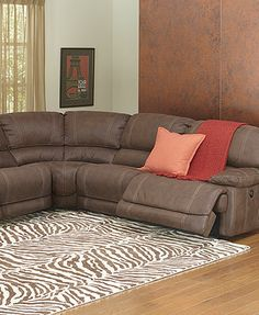 Jedd 6 Pc Fabric Sectional With 3 Power Motion Recliners