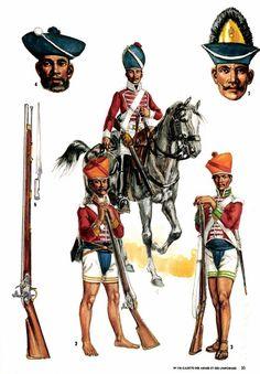 British; Egypt 1800. 1. Bengal Volunteer Cavalry. 2. 1st Bengal Infantry, Sepoy. 3. 7th Bengal Infantry, Sepoy. 4. Variation on headgear. & 5. Grenadier. By L& F Funken