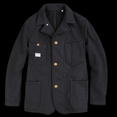UNIONMADE - BLUE BLUE - Knitted Fleece Chore Jacket in Black