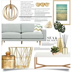 Living room • Golden sand by by-jwp on Polyvore featuring interior, interiors, interior design, home, home decor, interior decorating, Regina-Andrew Design, Life's a Beach, H&M and ferm LIVING