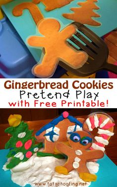 Gingerbread Cookies Pretend Play with Free Printable for your toddler and preschool dramatic play area.