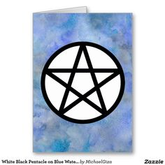 White Black Pentacle on Blue Watercolor Card