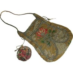 A Continental 18th century brocade bag and purse.