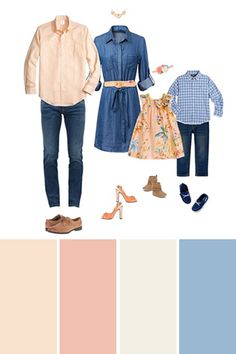 Apr 2019 - Peach, blue and demin are a perfect spring color combination for your next family pictures. What to Wear Tips and outfit inspirations for spring family pictures. Family Pictures Outside, Casual Family Photos, Fall Family Picture Outfits, Spring Family Pictures, Family Picture Colors, Family Portrait Outfits, Family Outfits, Family Posing, Family Portraits
