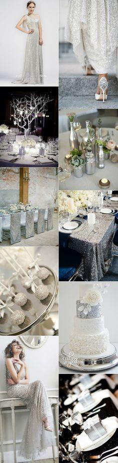 eye-catching glitter sliver wedding ideas