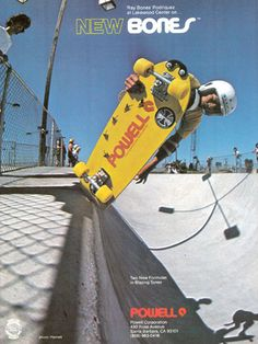 Powell - Bones wheels ad from 1978 Skate Photos, Skateboard Pictures, Skateboard Decks, Vintage Skateboards, Old School Skateboards, Vintage Advertisements, Ads, Advertising, Skate And Destroy