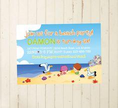 beach invitation, beach party, beach birthday, beach printable, beach themed party, 7th birthday, 8th birthday, boy birthday, beach themed RebeccaDesigns22, $10.99