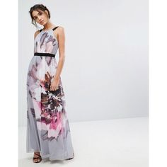 Little Mistress Oversized Floral Maxi Dress (5.800 RUB) ❤ liked on Polyvore featuring dresses, multi, ruched dress, floral print dress, print maxi dress, floral dresses and tall maxi dresses