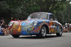 Check out this radical Porsche 356! That is one cool paint job! #porsche #art