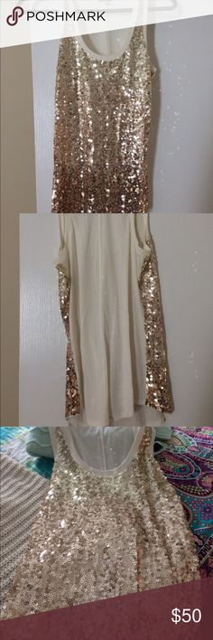 just in Express sequined Tunic Glam it up in Express gold sequined tunic New, sleeveless, tank style, u neckline, XS/tp Express Tops