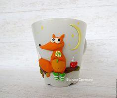 Купить Кружка Лисичка из полимерной глины - оранжевый, лисичка на кружке, кружка на заказ, кружка с лисичкой