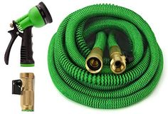 GrowGreen ALL NEW 2018 Garden Hose 50 Feet {IMPROVED} Expandable Hose With All Brass Connectors, 8 Pattern Spray And High Pressure, Expanding Garden Hose Water Garden, Garden Hose, Garden Tools, Lawn And Garden, Vegetable Gardening, Organic Gardening, Homebrewing, Portable Greenhouse, Garden Supply Online
