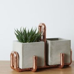Double Industrial Planter Pot With Copper Holder - 30th birthday gifts