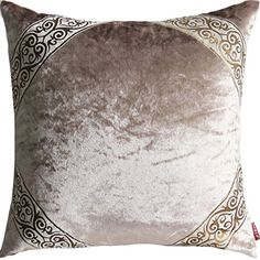 """Riverbyland Velvet Decorative Pillows Cover Luxurious Gray Round Jacquard 17""""x17"""""""