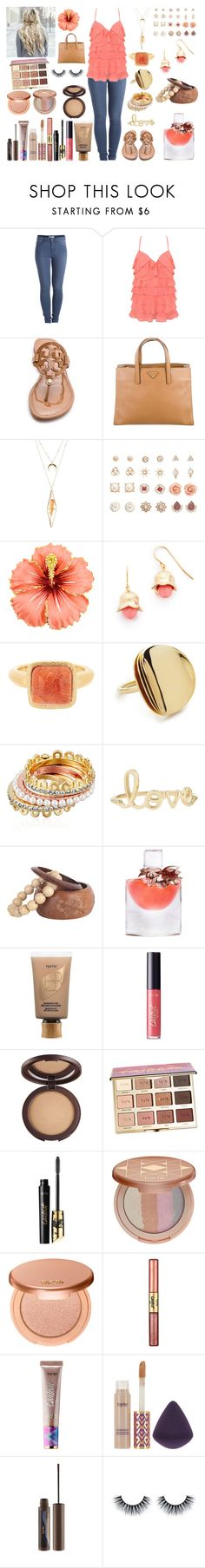 """Untitled #822"" by asiebenthaler ❤ liked on Polyvore featuring Pieces, Forever 21, Tory Burch, Prada, Charlotte Russe, Aurélie Bidermann, Rivka Friedman, Elizabeth and James, Kate Spade and Sydney Evan"