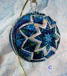 Quilted Fabric Christmas Ornament Handmade Blue Silver Black