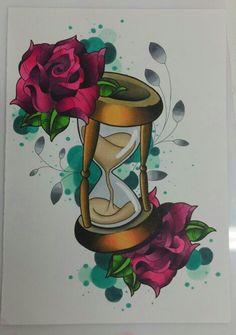 Reloj de arena y rosas. Entintado y rotuladores