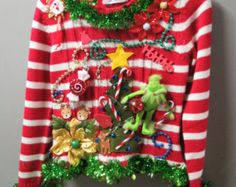 Childrens Kids Boys Girls Grinch Sweater Reindeer Tacky Ugly Christmas Sweater  Stuffed Grinch!  Candy Cane Striped Girls L Girls Christmas