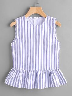 SheIn offers Vertical Stripe Frill Hem Tank Top & more to fit your fashionable needs. Frocks For Girls, Little Girl Dresses, Girls Dresses, Girl Outfits, Cute Outfits, Fashion Outfits, Diy Clothes And Shoes, Myanmar Traditional Dress, Corsage