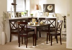 Furniture, Interesting L Shaped Dark Wood Kitchen Nook Nice Dark Wood Dining Table Dark Wood Dining Chairs Beige Shag Area Rug White Window Blind Simple Table Lamp White Laminate Flower Vases: Knowing Best Kitchen Nook Ideas