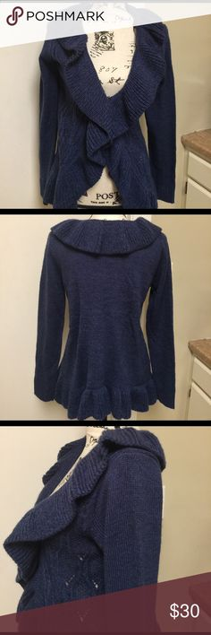 NWT Blue Ruffle Front Cardigan Sweater Small New with tags Blue Ruffled Front Cardigan Sweater by Carolyn Taylor ❣️Small ❣️100% acrylic ❣️stretchy material❣️ Carolyn Taylor Sweaters Cardigans