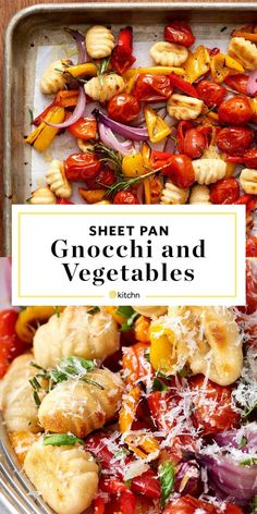 This Vegetarian Sheet-Pan Gnocchi Bake is easy, healthy, and delicious! - This Vegetarian Sheet-Pan Gnocchi Bake is easy, healthy, and delicious! Gnocchi gets tossed in a pa - Healthy Dishes, Healthy Dinner Recipes, Cooking Recipes, Healthy Gnocchi Recipes, Cooking Pork, Diet Recipes, Cooking Turkey, Cooking Pasta, Cooking Tips