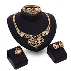 A Suit of Noble Faux Ruby Heart Shape Necklace Bracelet Ring and Earrings For Women #CLICK! #clothing, #shoes, #jewelry, #women, #men, #hats, #watches
