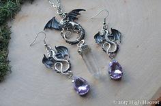 Fantasy Dragon Jewelry Set Dragon Earrings Black Dragon Necklace Purple Dragon Mother of Dragons Crystal Dragon Renaissance Jewelry