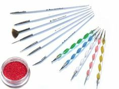 5 x 2-Way Marbleizing Dotting Pen Plus 7 x Nail Art Brush Tool Set With Bonus Glitter Powder by La Demoiselle. $13.99. 7 Nail Art Brush Set and 5 Dotting Pen (10 Sizes) Handle colors may vary.. 5 nail dotting pen with 2 distinctive ends for various marbleizing desires. Bonus: Glitter Powder 1 Jar Random Color. Brush Set Includes: Dotting Pen, Angle Brush, Drawing Brushes, Fan Brush , Striper. **Nail Art Brushes designed for fine nail art work: blending, side loading, getting...
