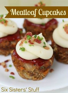 Meatloaf Cupcakes Ingredients: 1 tablespoon olive oil 1 cup onion, finely diced 1/2 cup carrots, finely diced 1/2 cup celery, finely diced 1 teaspoon dried oregano 2 garlic cloves, minced 1 cup ketchup, divided 1-1 1/2 pounds ground beef 1 cup Italian seasoned bread crumbs 2 tablespoons mustard 2 tablespoons Worcestershire sauce 1/4 teaspoon black pepper 2 eggs 2 cups mashed potatoes bacon bits and green onions for garnish  ...