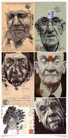 Mark Powell has used old envelopes to 'doodle' on, showing the evolution of reusing things to get more use out of them. The illustrations don't show the stages of growth but we can still see that this is someone who has got the most out of life and have grown to this stage in life.