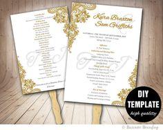 Printable Wedding Program Fan Template Wedding Fans DIY Wedding