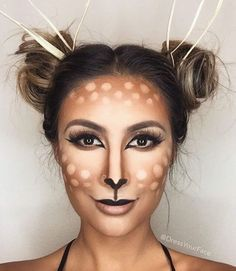 Make deer costume yourself- Reh Kostüm selber machen Inspiration, all accessories and make-up instructions to make your own Bambi costume. Halloween Looks, Halloween Make Up, Halloween Face Makeup, Deer Costume Makeup, Deer Costume Diy, Halloween Ideas, Halloween Halloween, Animal Costumes Diy, Deer Halloween Costumes