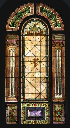 Stained glass windows in the sanctuary of Knoxville Christian Church, Knoxville, TN