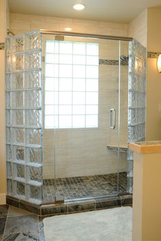 Glass Blocks Surround This Shower In Semi Privacy Bathroom
