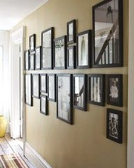 imaginary horizontal line between the pictures--instead of hanging from ribbons (would allow for more pics)