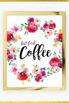 """A Gorgeous Floral Coffee Art Print perfect for adding a touch of glamour and femininity to any room in your home!    Available in three sizes:    5x7"""", 8x10"""", A4 UK or as a digital download!!    Visit my stunning Home Decor Etsy Shop www.iknowimperfect.com"""
