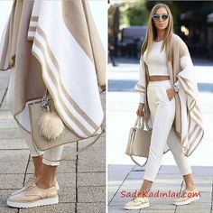 Neutral blanket poncho-Street style from the world's most stylish cities – Just Trendy Girls Mode Outfits, Fall Outfits, Casual Outfits, Fashion Outfits, Womens Fashion, Dress Fashion, Summer Outfits, Look Fashion, Winter Fashion